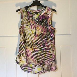 Purple/Yellow Crisscross Pattern Sleeveless Blouse